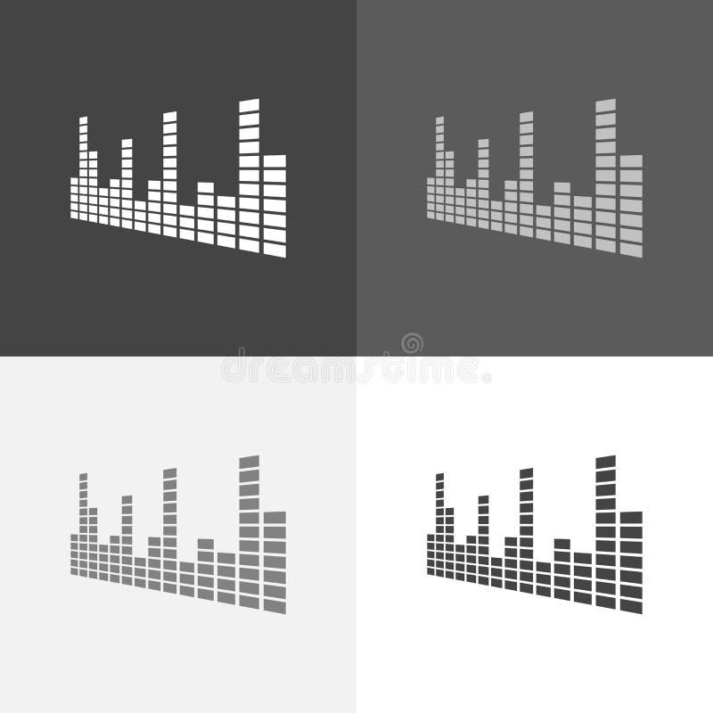 Fastställd symbol för vektor av den musikaliska utjämnaren En musikalisk solid våg Vect vektor illustrationer