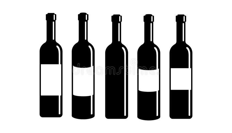 Fastställd symbol för vinflaska som isoleras på vit bakgrund 10 eps royaltyfri illustrationer