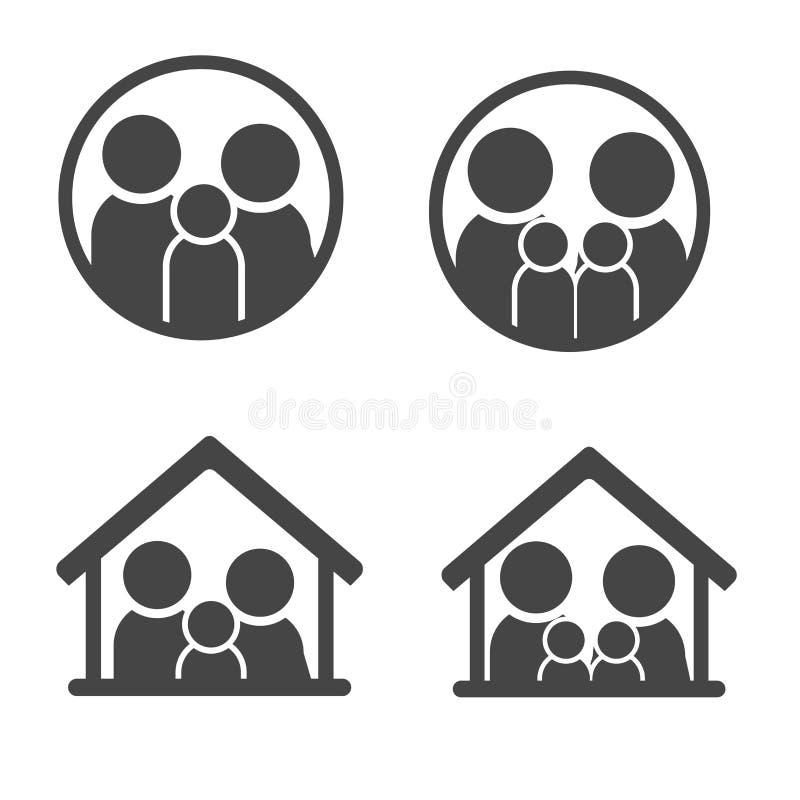 fastställd symbolperson: fostra, avla och ungar som isoleras på vit vektor illustrationer