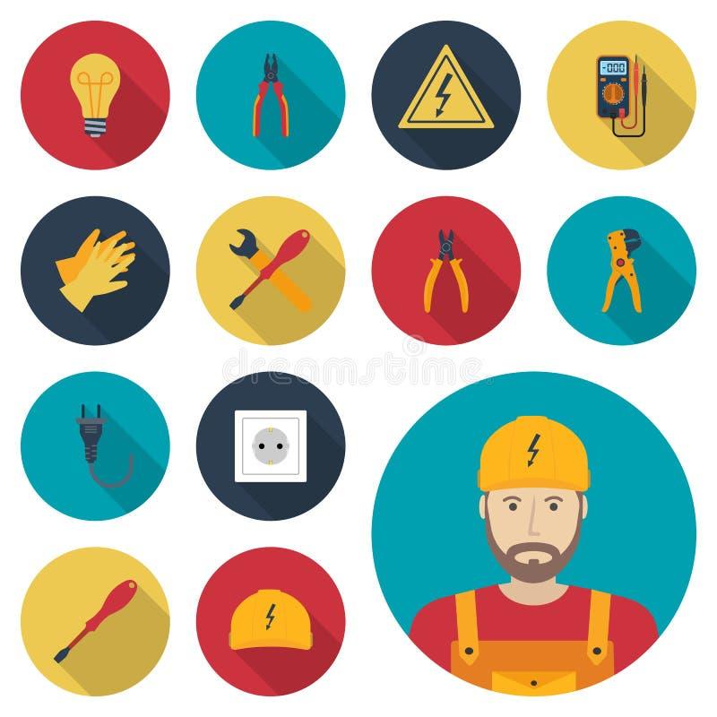Fastställd symbolslägenhet för elektricitet Elektriska hjälpmedel för symboler, utrustningar och vektor illustrationer