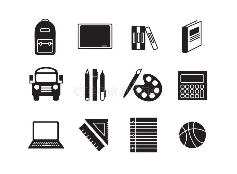 Fastställd symbolsuppsättning för vektor för skola royaltyfri illustrationer