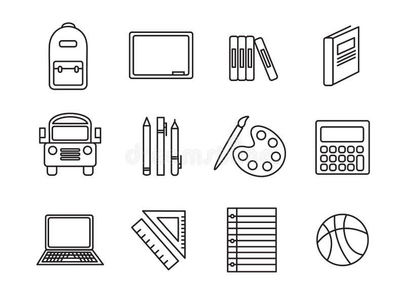Fastställd symbolsuppsättning för vektor för skola stock illustrationer