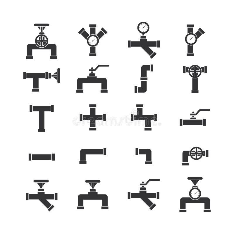 Fastställd symbolsvektor för rör royaltyfri illustrationer