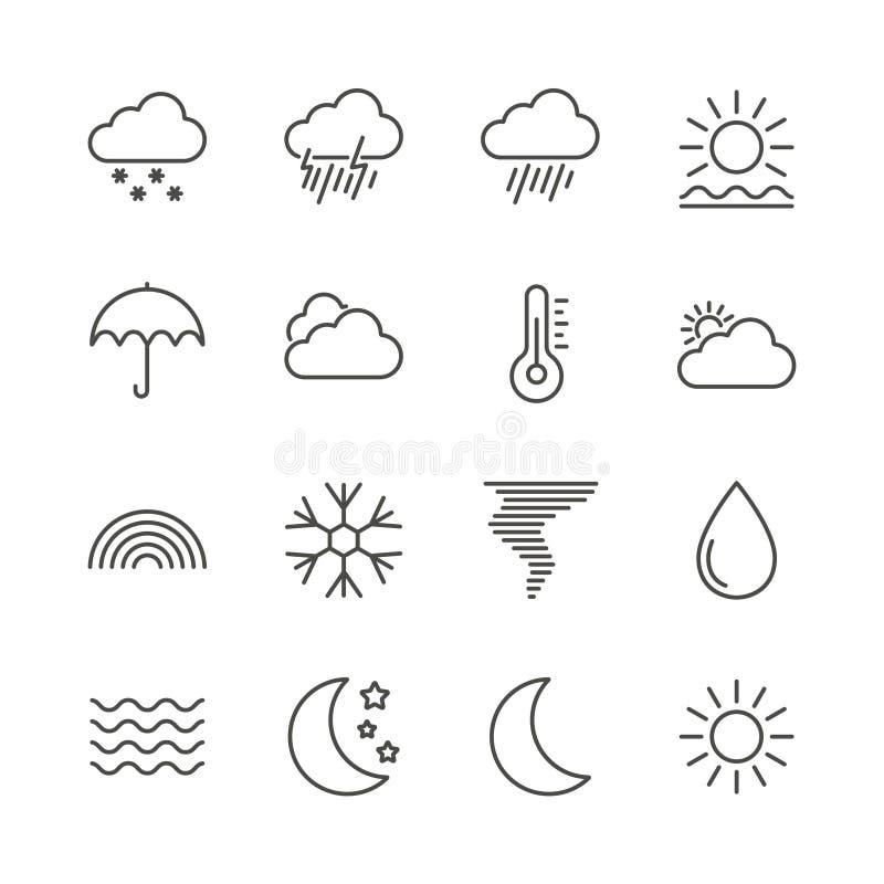 Fastställd symbolsvektor för väder Översiktsprognossamling Moderiktig tunn linje stil, rengöringsdukklimatillustrat stock illustrationer