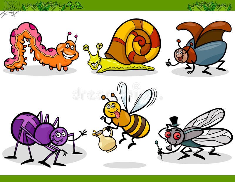Fastställd tecknad filmillustration för lyckliga kryp stock illustrationer