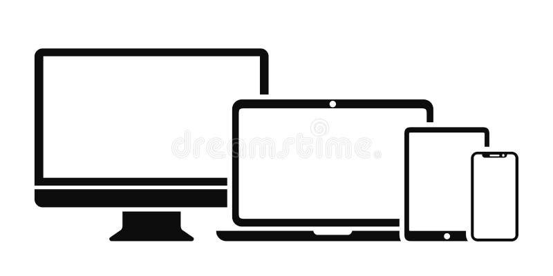 Fastställd teknologiapparatsymbol: dator-, bärbar dator-, minnestavla- och smartphoneskärmsymbol för rengöringsdukutvecklingsapps stock illustrationer