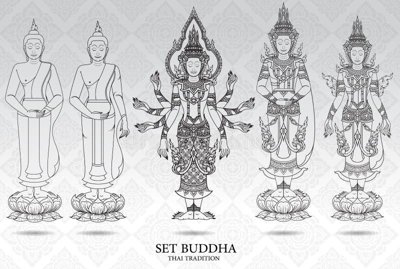 Fastställd thai traditionsstil för Buddha, modellbakgrund stock illustrationer