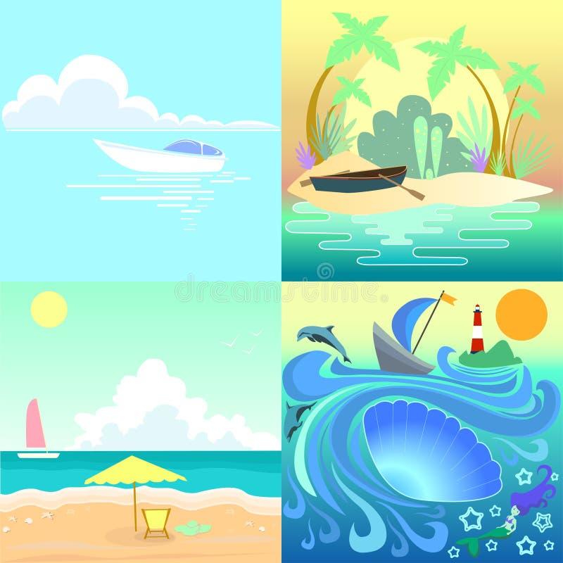 Fastställd tropisk seascape med fartygstranden royaltyfri illustrationer