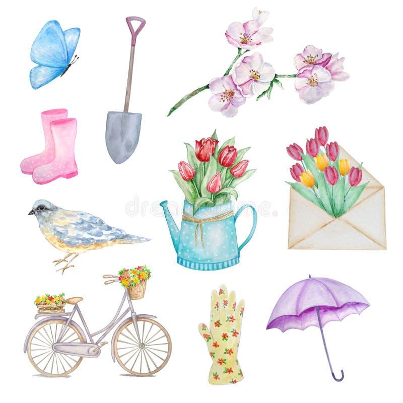 Fastställd vår för vattenfärg stock illustrationer