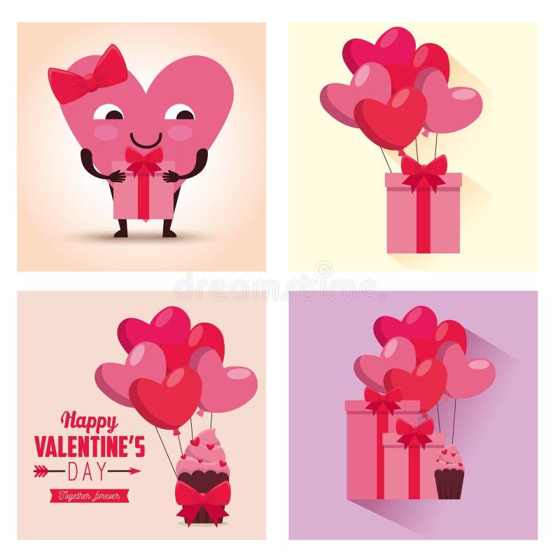 Fastställd valentindagberöm med hjärtaballonger och gåvor royaltyfri illustrationer