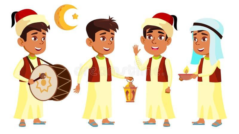 Fastställd vektor för arabisk muslimsk pojkeskolpojkeunge Barn som firar Ramadan Kareem Aktivt gulligt barn Svart tavla avläggand vektor illustrationer