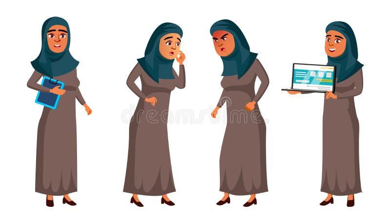 Fastställd vektor för arabisk muslimsk tonårig flicka Vända mot Kontorschef Person För rengöringsduk broschyr, affischdesign Isol stock illustrationer