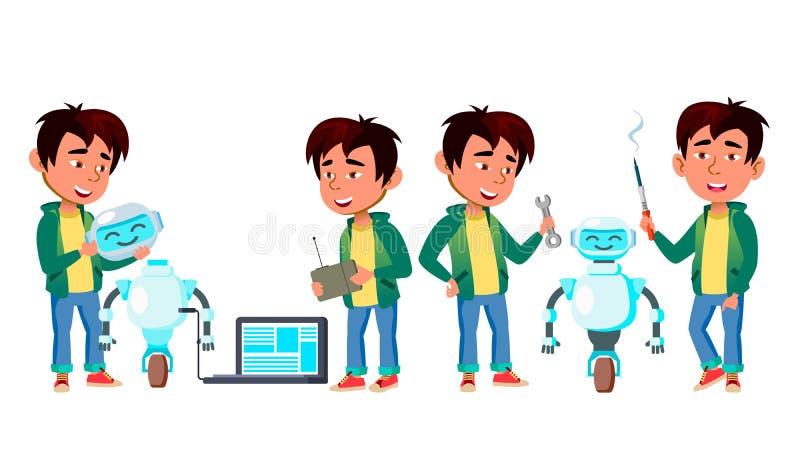 Fastställd vektor för asiatisk pojke pojken lärer den huvudlästa skolalärare till study Bygganderobothjälpreda Kunskap lär elektr stock illustrationer