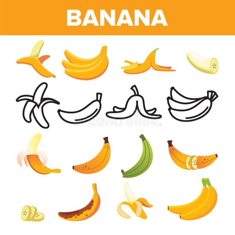 Fastställd vektor för bananFriut symbol Gult matsymbol Konturgrupp Den tropiska naturen bantar Sött vegetariskt naturligt tecken stock illustrationer
