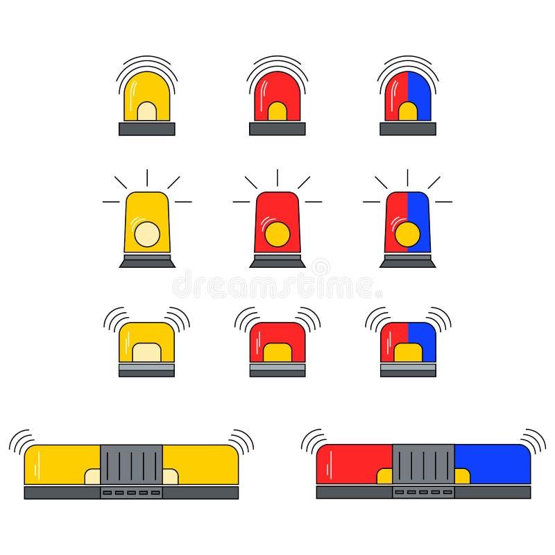 Fastställd vektor för blinkersiren stock illustrationer