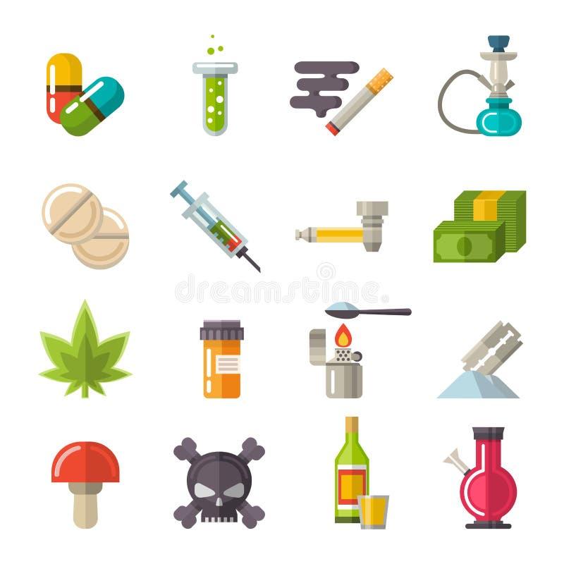 Fastställd vektor för drogsymboler royaltyfri illustrationer