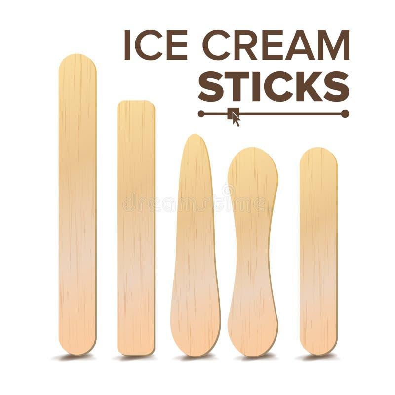 Fastställd vektor för glasspinnar Olika typer Träpinne för glass, medicinsk tungDepressor Isolerat på vit royaltyfri illustrationer