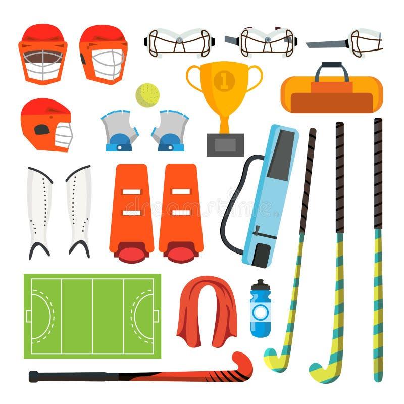 Fastställd vektor för landhockeysymboler Landhockeytillbehör Boll hjälm, skydd, pinne, kopp Isolerad plan tecknad film stock illustrationer