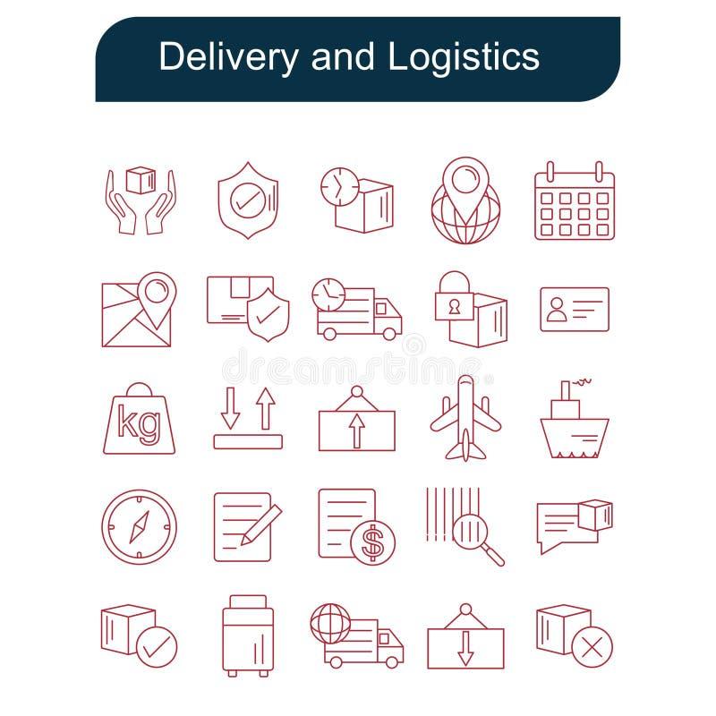 Fastställd vektor för leverans- och logistiksymboler stock illustrationer