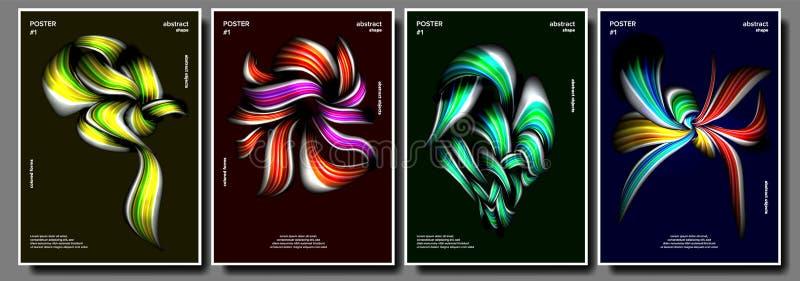 Fastställd vektor för modern affisch Bakgrund för affischdesign Sudd band Färgrik bakgrund Minimalist broschyr vektor illustrationer