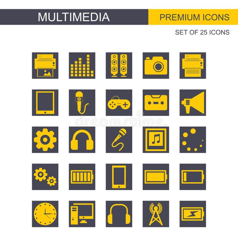 Fastställd vektor för Mutimedia symboler stock illustrationer