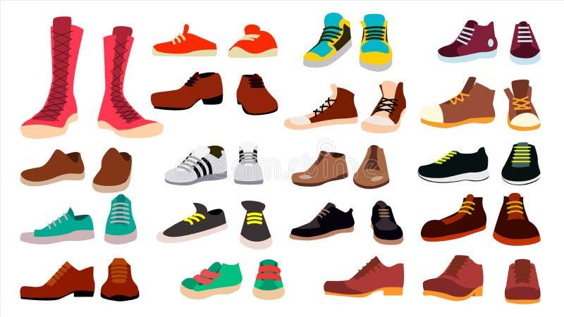 Fastställd vektor för skodon trendiga skor kängor För man och kvinna rullad white för bakgrundssymbolstraktor rengöringsduk Plan  royaltyfri illustrationer