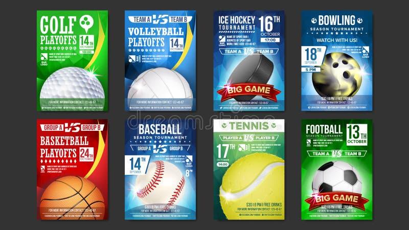 Fastställd vektor för sportaffischer Golf baseball, ishockey, bowling, basket, tennis, fotboll, fotboll Händelsemeddelande fotografering för bildbyråer