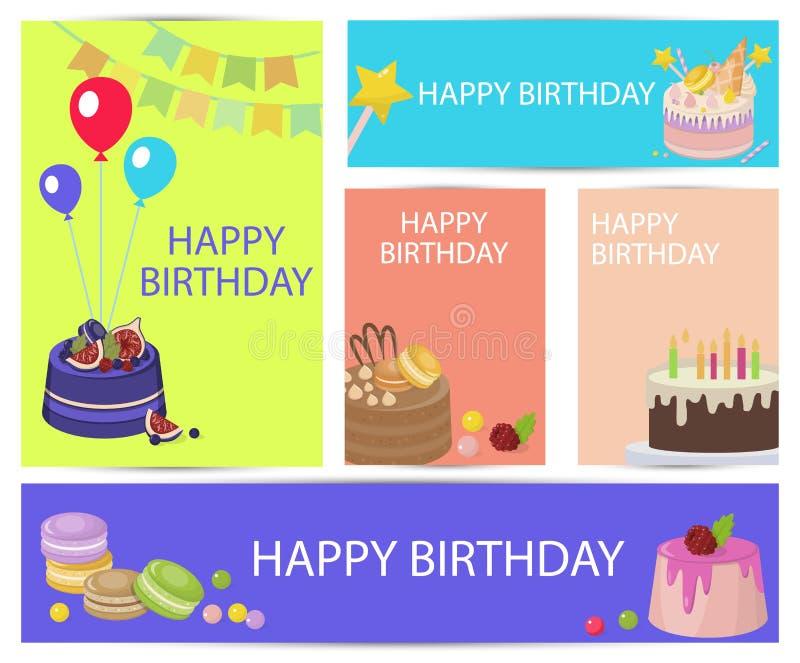 Fastställd vektor för tecknad film för lycklig födelsedag för inskrift stock illustrationer