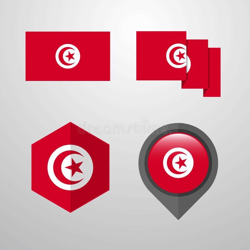 Fastställd vektor för Tunisien flaggadesign stock illustrationer
