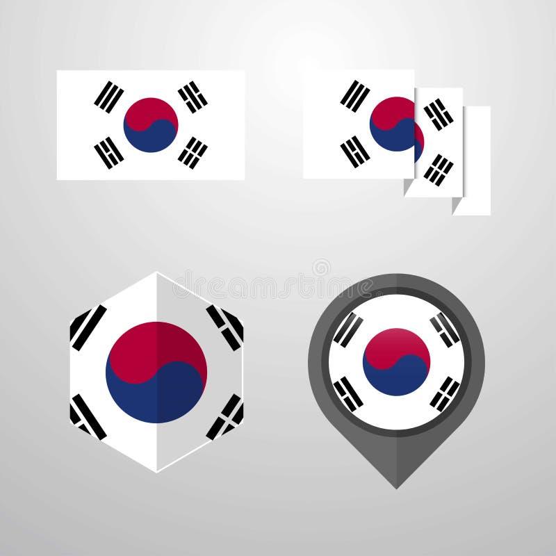 Fastställd vektor Korea för södra flaggadesign stock illustrationer