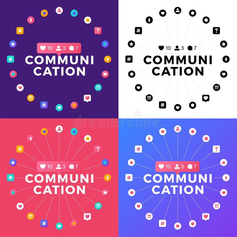 Fastställd vektorillustration av ett socialt massmediakommunikationsbegrepp Kommunikationsord med symboler för social aktivitet s vektor illustrationer