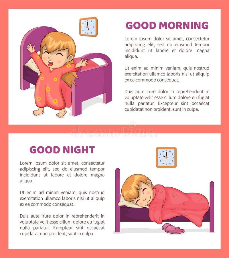 Fastställd vektorillustration för bra morgon och för natt royaltyfri illustrationer