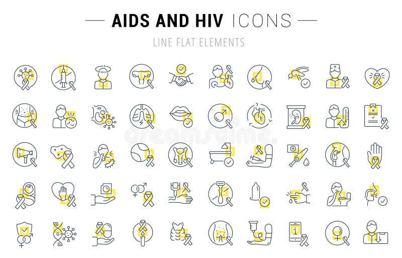 Fastställd vektorlinje symboler av HJÄLPMEDEL och HIV royaltyfri illustrationer