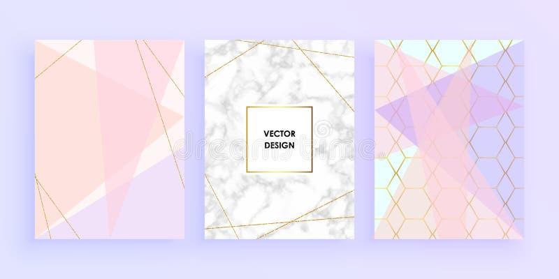 Fastställda abstrakta geometriska designer med guld, blänker, lagar mat med grädde, ljus - blått, pastellfärgade rosa färger och  royaltyfri illustrationer