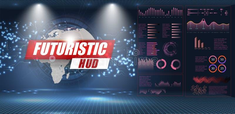 Fastställda abstrakta HUD beståndsdelar för UI UX planlägger Statistik och data, infographic information stock illustrationer