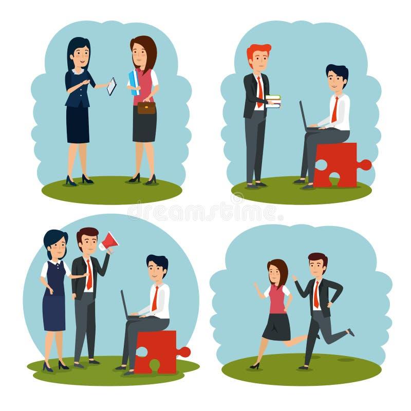 Fastställda affärskvinnor och plan för affärsmanstrategianalys royaltyfri illustrationer
