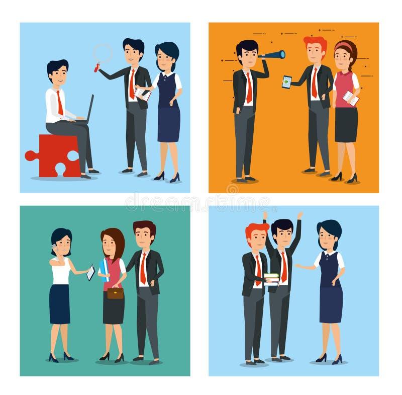 Fastställda affärskvinnor och plan för affärsmanstrategiteamwork stock illustrationer