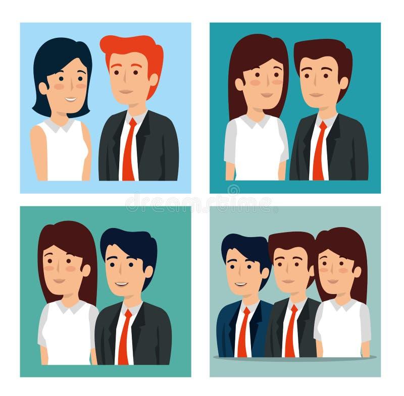 Fastställda affärsmän och plan för affärskvinnastrategiteamwork vektor illustrationer