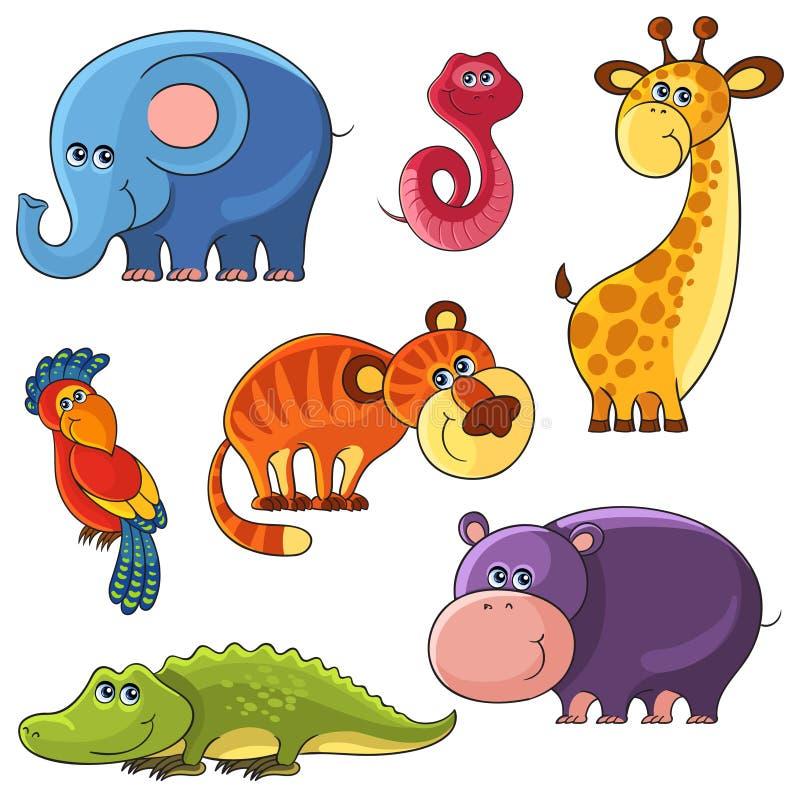 Fastställda afrikanska wild djur vektor illustrationer