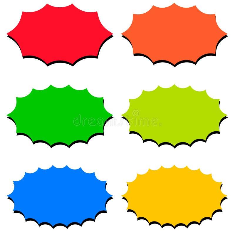 Fastställda anförandebubblamallar, tryckvåg för promo för starburst för ballong för anförande för formsymbolsvektor, för tryckvåg royaltyfri illustrationer