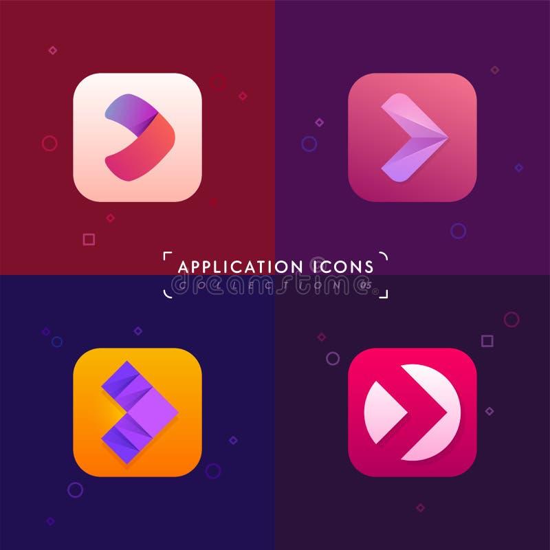 Fastställda applikationsymboler Pilteckensamling Logobeståndsdelar i M royaltyfri illustrationer