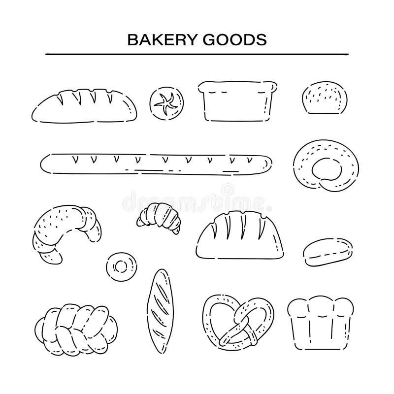 Fastställda bageriprodukter panerar linjen klottersymboler Den olika vektorn för bakat gods skissar den svarta isolerade illustra stock illustrationer