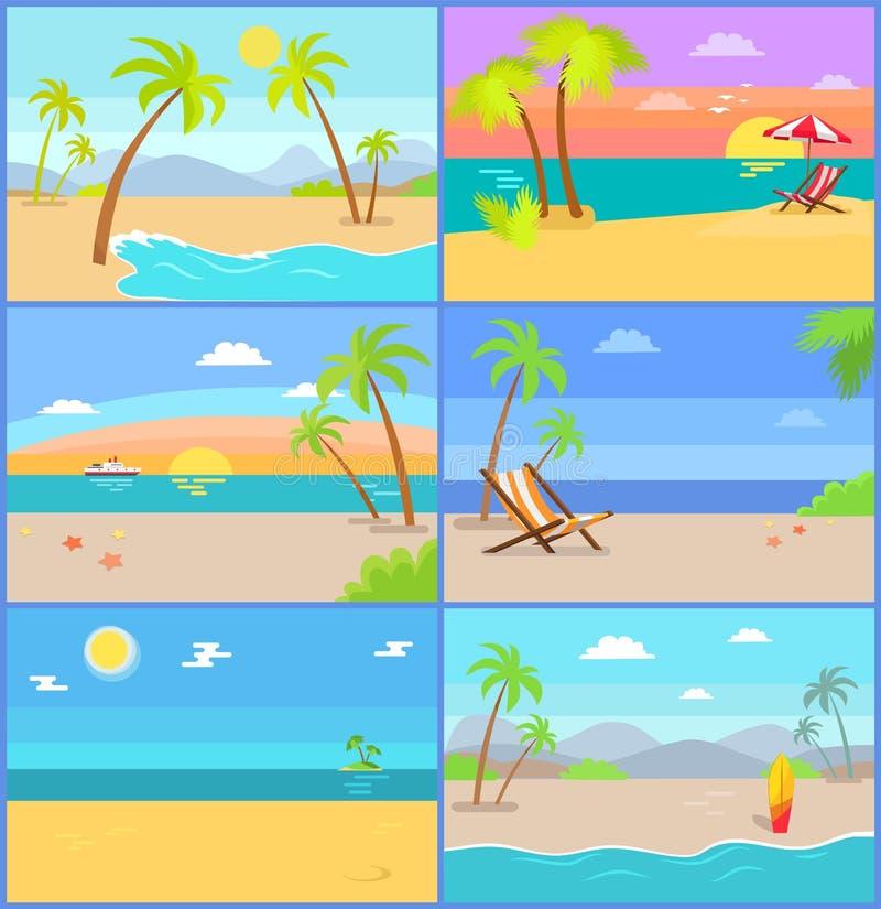 Fastställda berg för tropiska sommarvektorillustrationer stock illustrationer