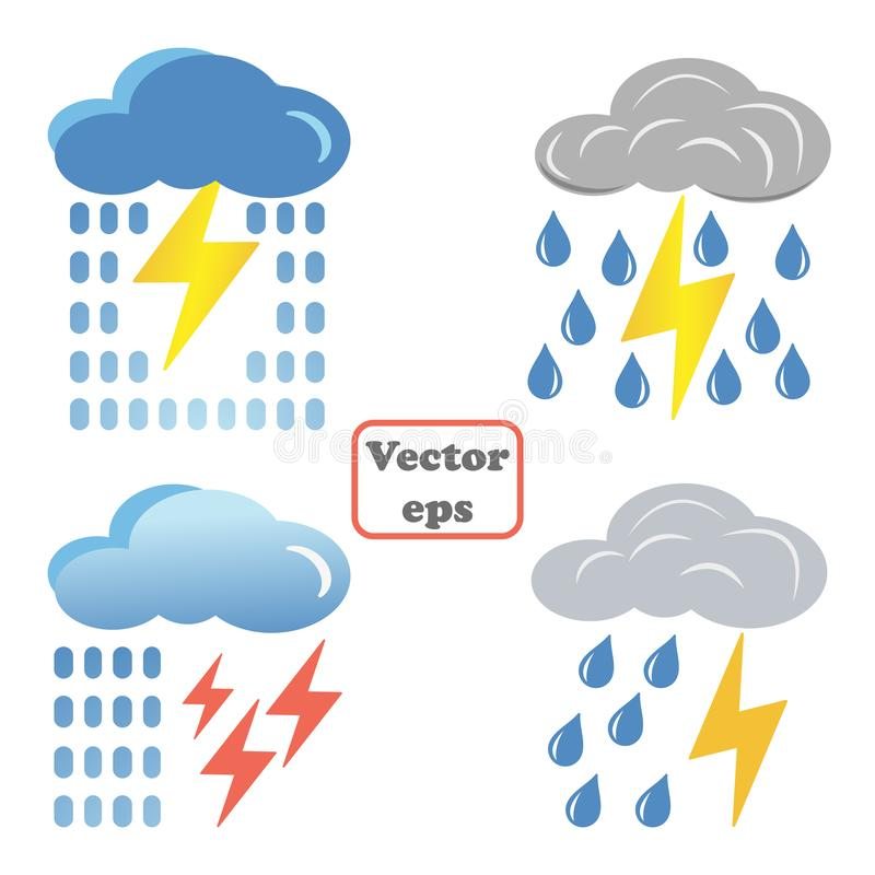 Fastställda blått fördunklar med blixtar och regnsymbolen Tecknad filmillustrationen av blått fördunklar med blixtar och regnvekt stock illustrationer
