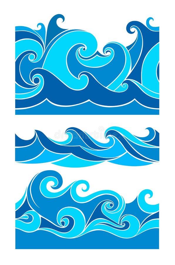 Fastställda blåttvågor stock illustrationer