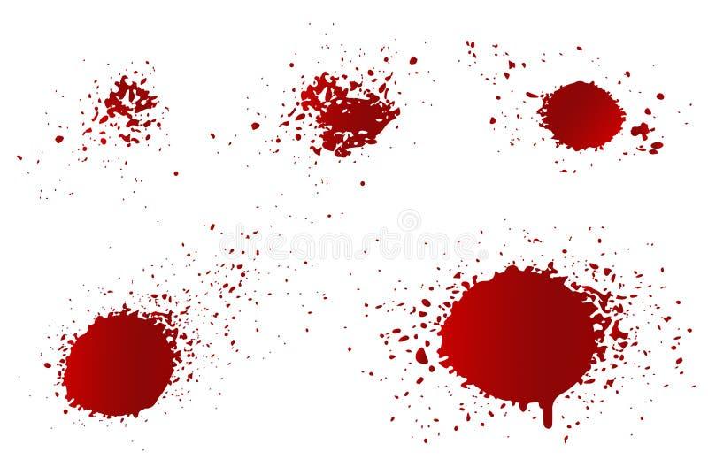Fastställda blodfärgstänk för vektor vektor illustrationer
