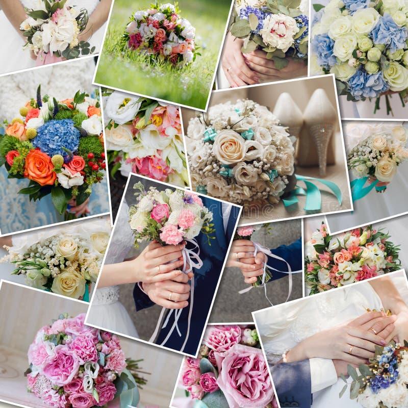 Fastställda bröllopbuketter för collage Bröllopceremoni och nya blommor i händer av bruden Samling av härliga bröllopbuketter arkivbilder