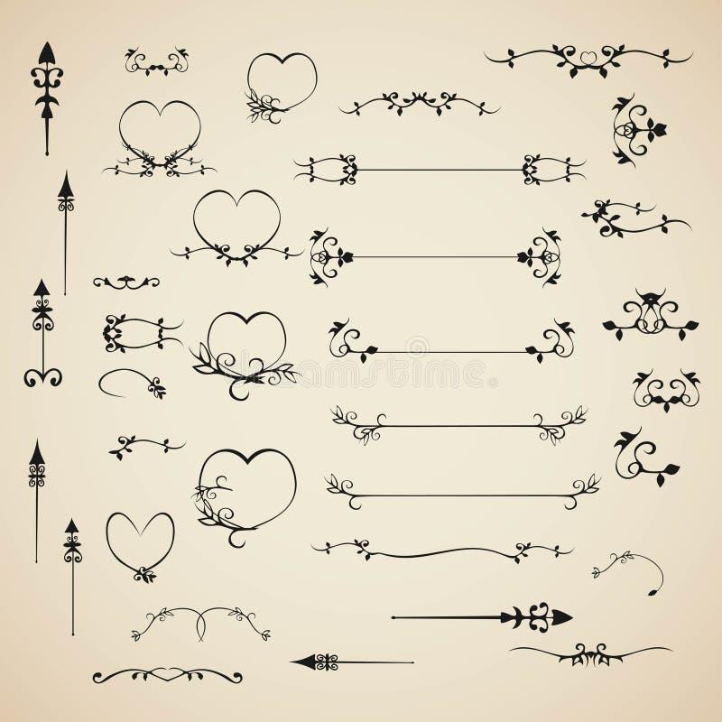 Fastställda calligraphic designbeståndsdelar inbjudan för vektor och sidagarnering stock illustrationer