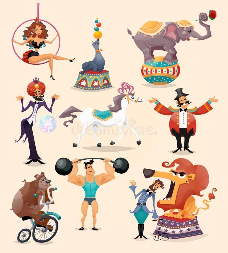 Fastställda cirkussymboler royaltyfri illustrationer