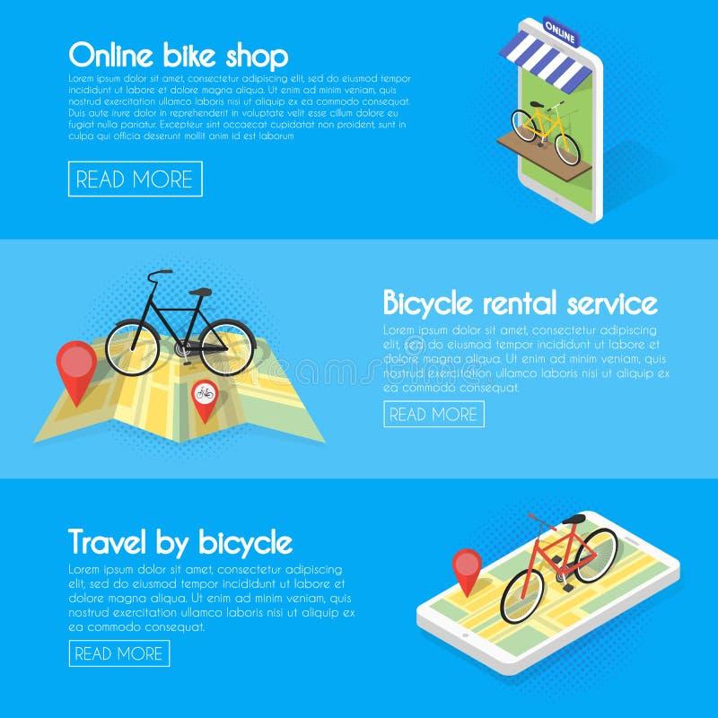 Fastställda cykelbaner Köp online-cykelhyror, service, försäljningar Isometrisk fasad av lagerbegreppsillustrationen stock illustrationer